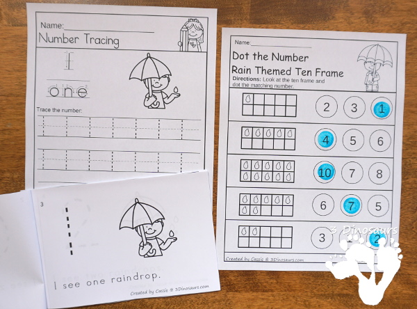 Rain & Umbrella Themed Spring Pack For PreK & Kindergarten- with loads of activities that work on ABCs, numbers, math counting and more - It has a mix of hands-on and no-prep activities - 3Dinosaurs.com
