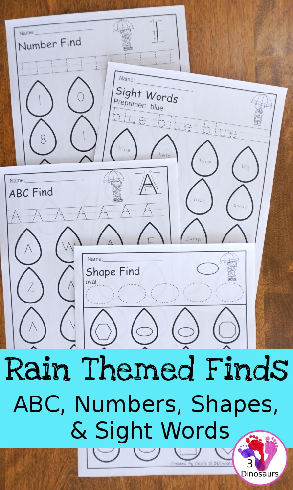 Rain Themed Number Finds: ABCs, Numbers, Shapes, Sight Words Preprimer & Primer - no-prep printables with a rain theme - 3Dinosaurs.com