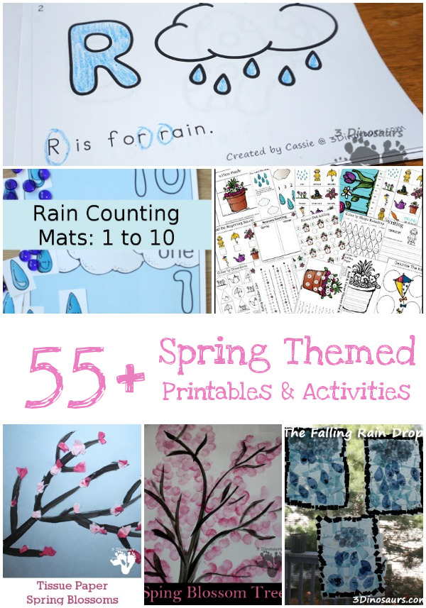Spring Printables & Activites on 3 Dinosaurs