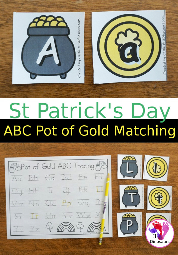 Free St Patrick's Day ABC Pot of Gold Matching With Tracing - all 26 letter of the alphabet with uppercase and lowercase letters with two options for recording  - 3Dinosaurs.com
