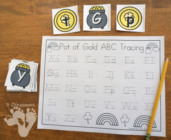Free St Patrick's Day ABC Pot of Gold Matching With Tracing = all 26 letter of the alphabet with uppercase and lowercase letters with two options for recording  - 3Dinosaurs.com