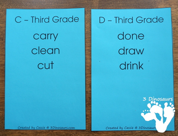 Free Dolch Sight Word Third Grade Wall Cards - word sorted by letter - 3Dinosaurs.com