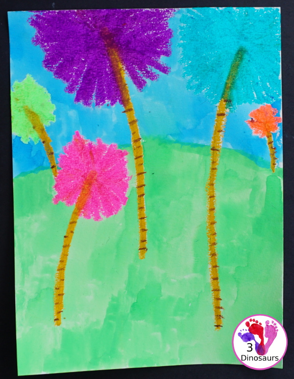 Watercolor & Oil Pastel Truffula Trees - a fun and easy way to do a mixed media art project with kids for the book The Lorax  - 3Dinosaurs.com