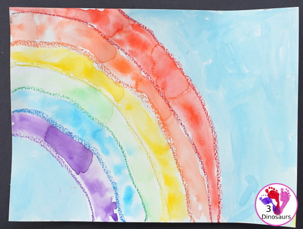 Watercolor Rainbow Process Art - kids can great creative and explore how water spreads things out with this craft for St. Patricks Day or springtime  - 3Dinosaurs.com