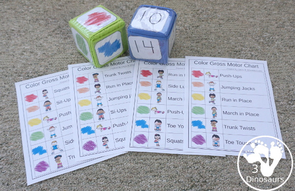 Free Color Themed Gross Motor Dice - with 9 gross motor movements for kids to do with a color code and 4 different sheets to use with the color theme dice - 3Dinosaurs.com
