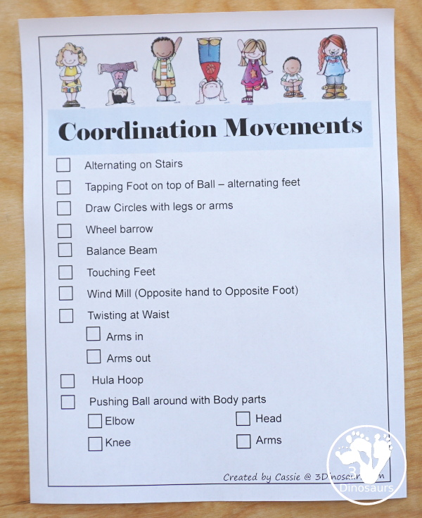 Gross Motor Printable List with  12 pages of gross motor activities to do - animal movements, tossing, coordination, kicking, hoping, jumping, games, dance and more - 3Dinosaurs.com