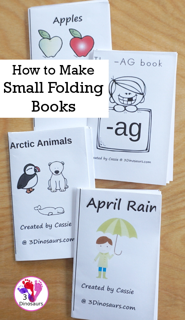 Using Printables: How to Make the Small Book - how to make the 8-page books out of one piece of paper - 3Dinosaurs.com