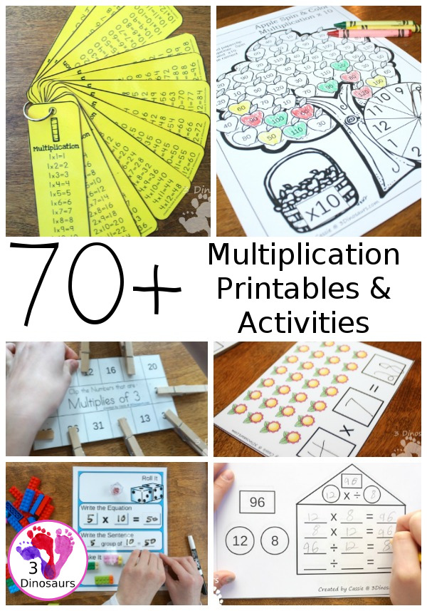 70+ Multiplication Printables & Activities - with packs, rolling games, no-prep worksheets, flashcards clip cards and more. They are great for second grade, third grade and fourth grade - 3Dinosaurs.com