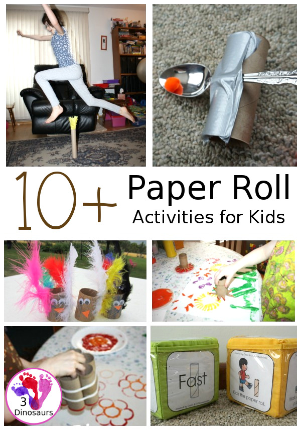Fun and Easy to do Paper Roll Activities - over 10 ideas you can do with paper rolls of various sizes. These activities are great for Earth Day - 3Dinosaurs.com