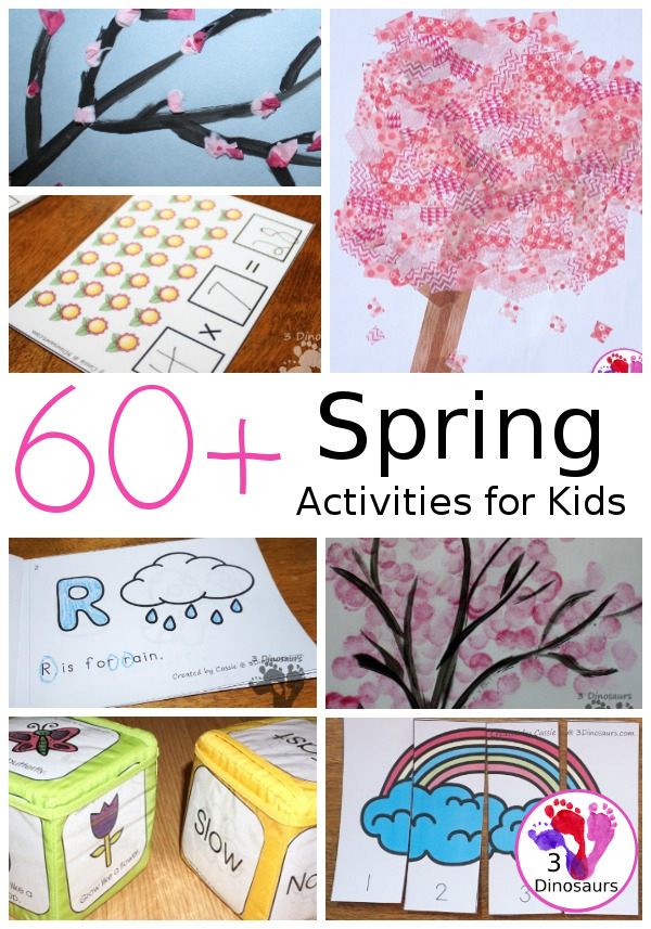 Spring Activities and Printables on 3 Dinosaurs