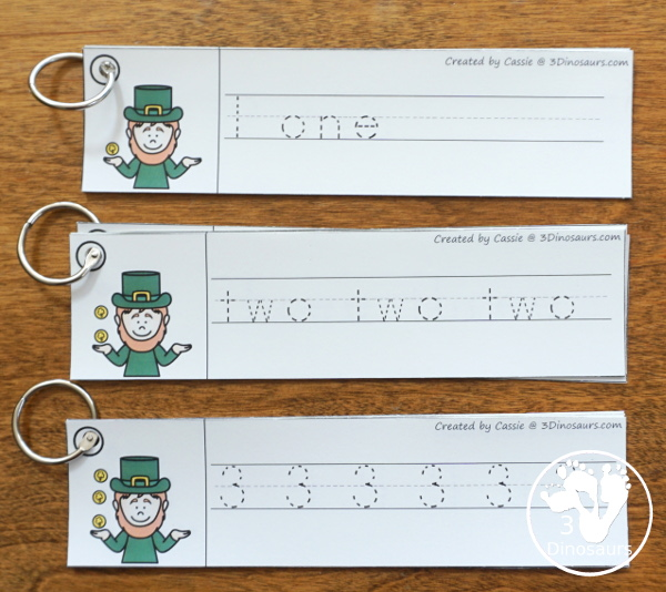 St. Patrick's Day Activities Pack with Prewriting, Shapes, ABCs, and Numbers - 191 pages of activities with no-prep pages, clip cards and tracing strips to help with learning skills - 3Dinosaurs.com