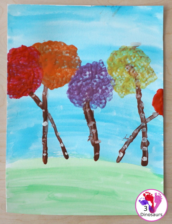Q-Tip Painted: Truffula Tree -a fun painting project to go with the book the Lorax - 3Dinosaurs.com