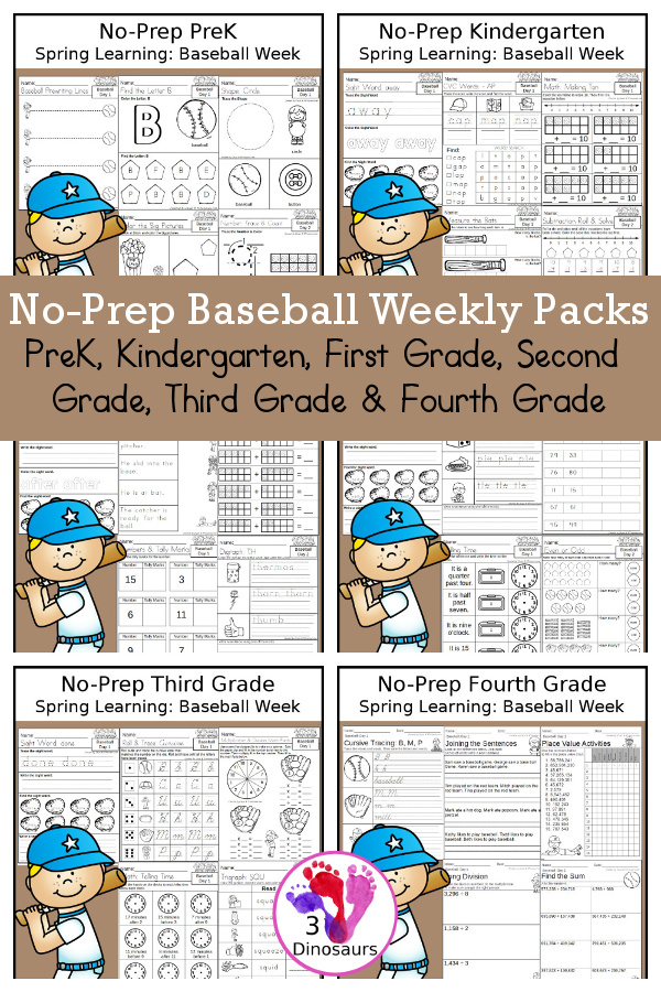 Baseball Day No-Prep Weekly Packs PreK, Kindergarten, First Grade, Second Grade, Third Grade & Fourth Grade with 5 days of activities to do for each grade level - You will find math, language, and more - These are easy to use packs for homework, distance learning, and morning work. Easy no-prep printables to for kids - 3Dinosaurs.com - 3Dinosaurs.com