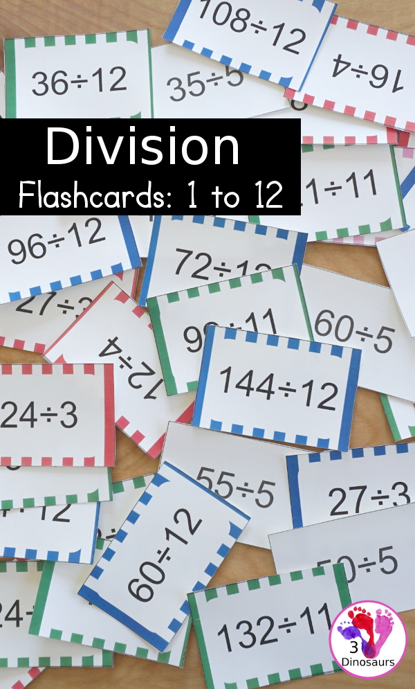 Free Division Flashcard Printable - with division from 1 to 12 with white, red, green, pink and blue options for the cards - 3Dinosaurs.com
