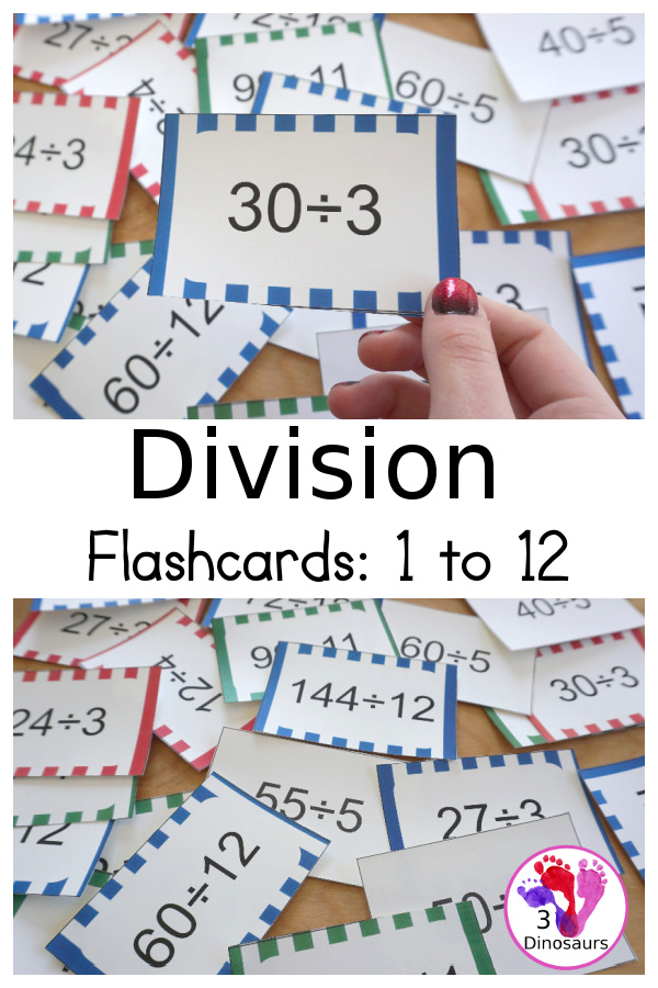 Free Division Flash Card Printable - with division from 1 to 12 with white, red, green, pink and blue options for the cards - 3Dinosaurs.com