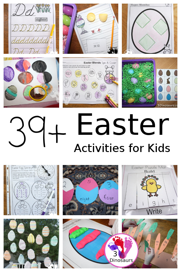 39+ Easter Activities and Printables - collection of themed Easter printable packs, Easter number printables, Easter math printables, Easter crafts, Easter sensory bins, and more - 3Dinosaurs.com
