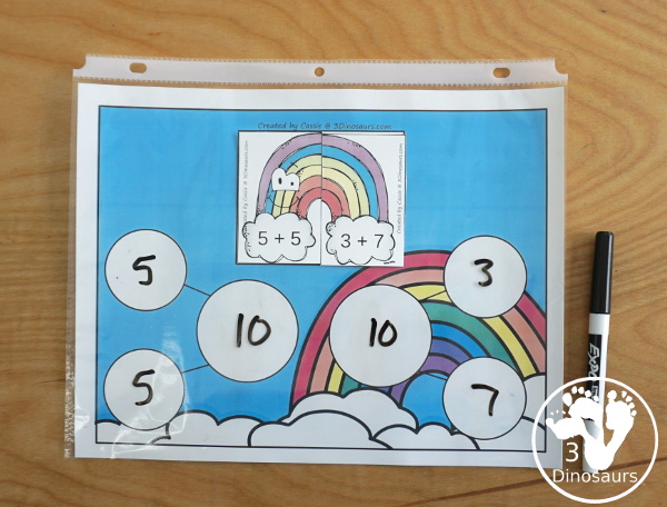 Free Rainbow Addition Matching - a fun addition matching game adding numbers from 1 to 20  with two piece puzzles and matching number bond mat for kindergarten and first grade - 3Dinosaurs.com