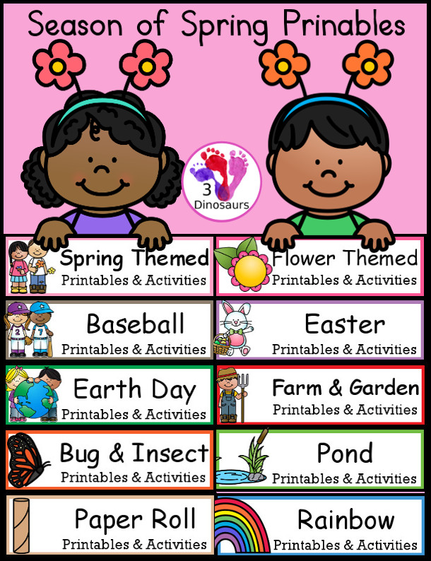 Season of Spring themed Printables with printable packs, reading, writing, ABCs, numbers, shapes, math, and more - 3Dinosaurs.com