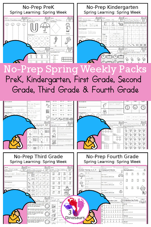 Spring Day No-Prep Weekly Packs PreK, Kindergarten, First Grade, Second Grade, Third Grade & Fourth Grade with 5 days of activities to do for each grade level - You will find math, language, and more - These are easy to use packs for homework, distance learning, and morning work - 3Dinosaurs.com