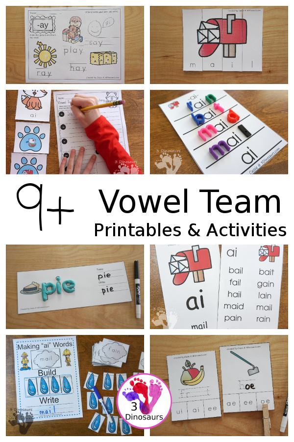 9+ Vowel Team Printables & Activities - with wall cards, puzzles, hands-on learning, no-prep printables and more all working on vowel tem words - 3Dinosaurs.com