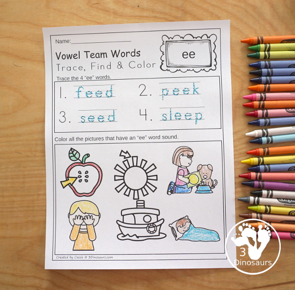 Vowel Team Trace, Find & Color - a fun no-prep printable to work on tracing and finding words - 3Dinosaurs.com
