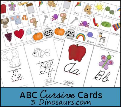 Free ABC Cursive Cards - 3Dinosaurs.com