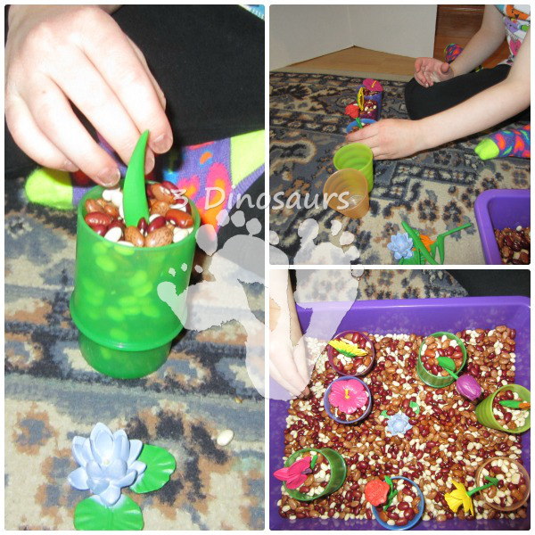 Flowers And Bean Sensory Bin- 3Dinosaurs.com