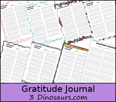 Free Gratitude Journal - 3Dinosaurs.com