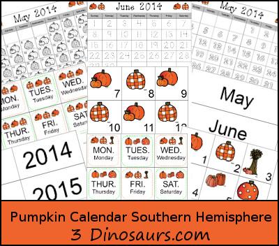 Pumpkin Calendar for Southern Hemisphere - 3Dinosaurs.com