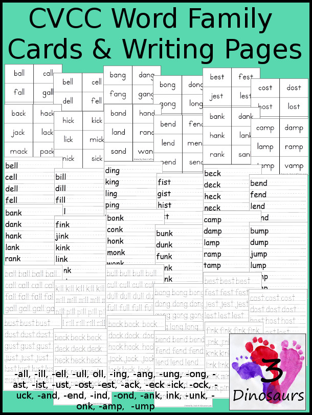 All CVCC Word Family Cards & Writing: -all, -ill, -ell, -ull, oll, -ing, -ang, -ung, -ong, -ast, -ist, -ust, -ost, -est, -ack, -eck -ick, -ock, -uck, -and, -end, -ind, -ond, -ank, ink, -unk, -onk, -amp,  -ump  - 3Dinosaurs.com