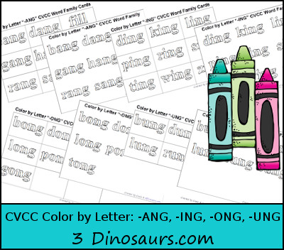 Free CVCC Word Family Color by Letter: -ANG, -ING, -ONG, – UNG