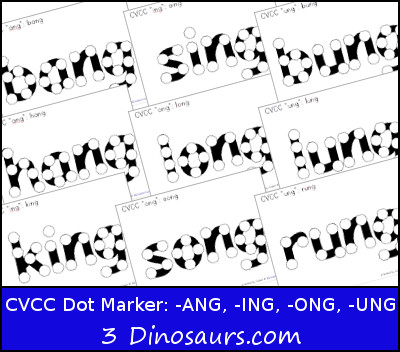 Free CVCC Word Family Dot Marker: -ANG, -ING, -ONG, – UNG