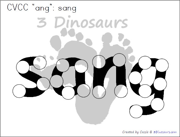 Free CVCC Word Family Dot Marker: -ANG, -ING, -ONG, - UNG - 3Dinosaurs.com