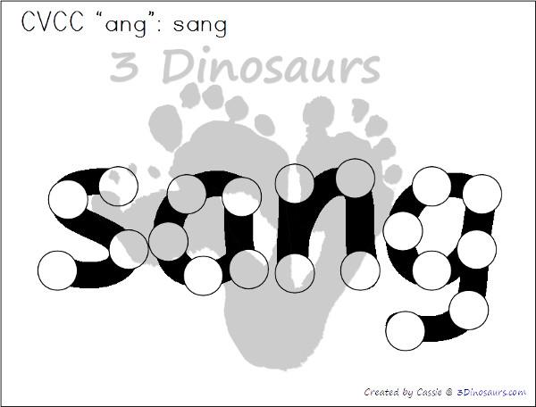 Free CVCC Word Family Dot Marker: -ANG, -ING, -ONG, - UNG - 3Dinosaurs.com