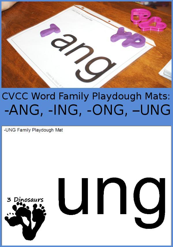 Free CVCC Word Family Playdough Mats: -ANG, -ING, -ONG, - UNG - 3Dinosaurs.com