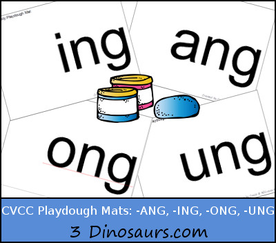 Free CVCC Word Family Playdough Mats: -ANG, -ING, -ONG, – UNG