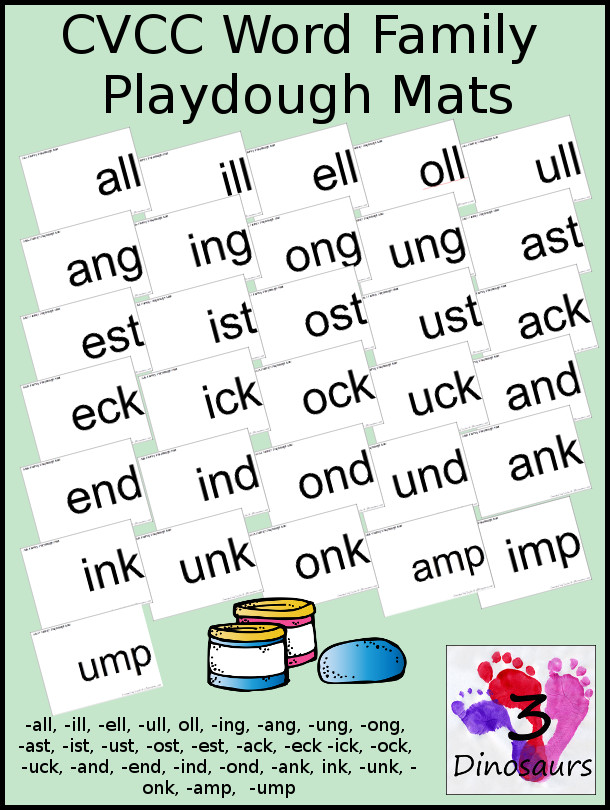 CVCC Word Family Playdough Mats: -all, -ill, -ell, -oll, -ull, -ing, -ang, -ung, -ong, -ast, -ist, -ust, -ost, -est, -ack, -ick, -ock, -uck, -and, -end, -ind, -ond, -und, ink, -unk, -onk, -amp, -imp, -ump - 3Dinosaurs.com