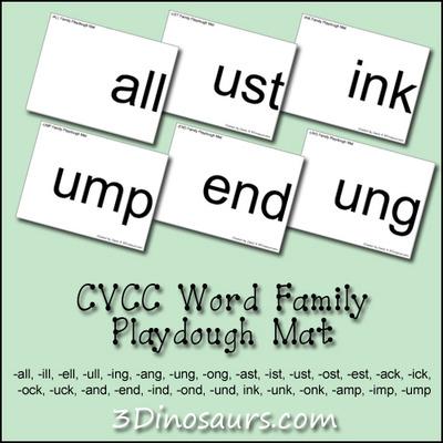 CVCC Word Family Playdough Mats - 3Dinosaurs.com