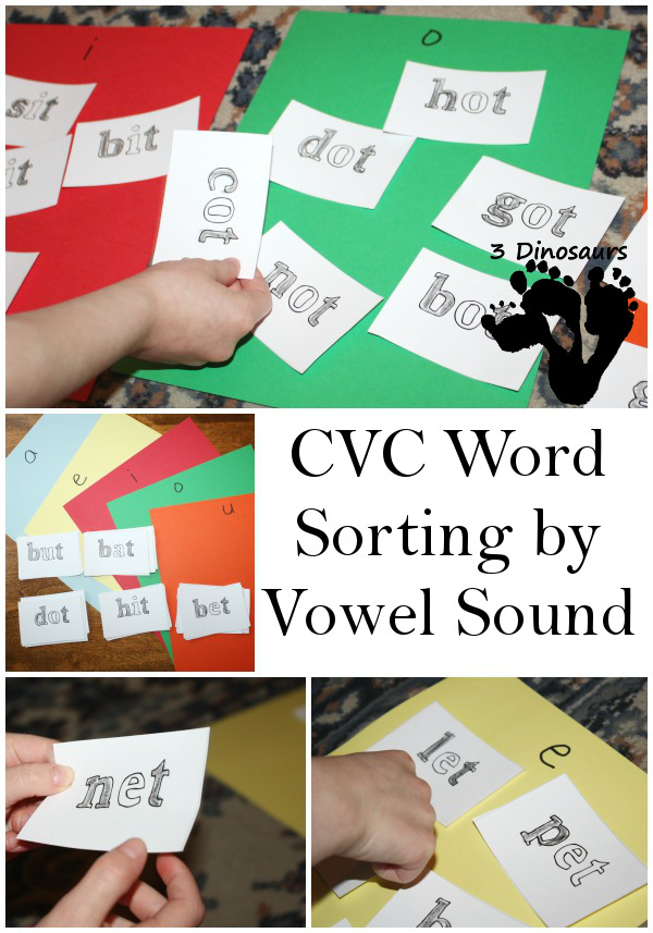 CVC Words Sorting by Vowel Sound - Fun way to use color by letter printables - 3Dinosaurs.com
