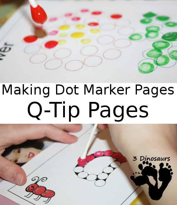 Making Dot Marker Printables Into Q-Tip Pages - 3Dinosaurs.com