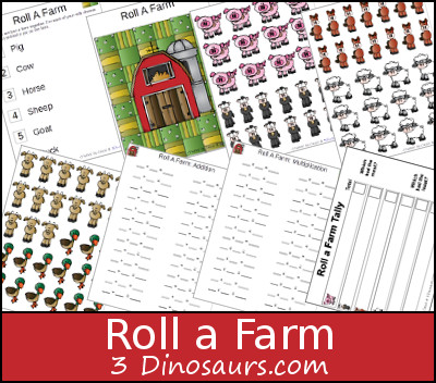 Free Roll a Farm Printable - 3 Levels of learning: counting, addition, and multiplication - 3Dinosaurs.com