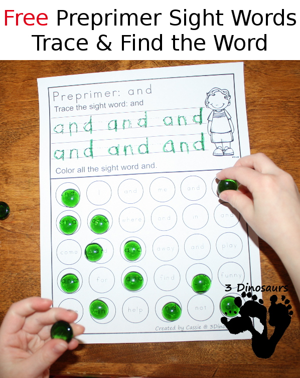 Free Preprimer Sight Word Trace & Dot the Word - 3Dinosaurs.com