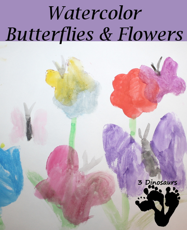 Watercolor Butterfly & Flower Painting - 3Dinosaurs.com