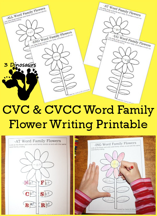 CVC & CVCC Word Family Writing Flowers - 3Dinosaurs.com