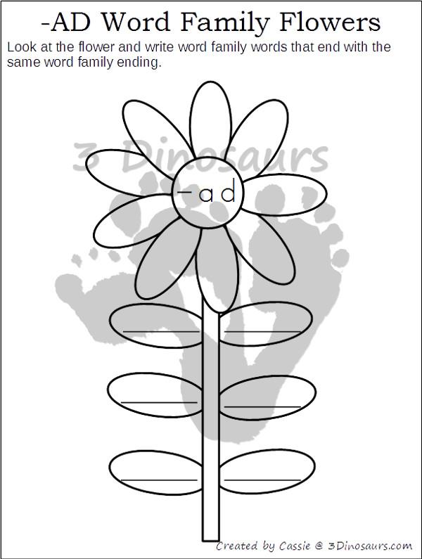 Free CVC & CVCC Word Family Writing Flowers | 3 Dinosaurs