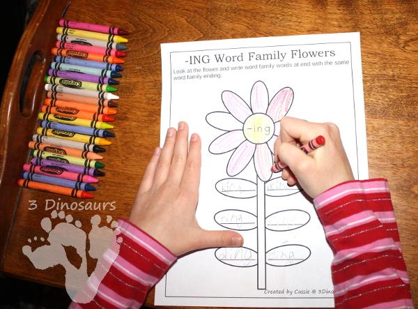 Free CVC & CVCC Word Family  Writing Flowers - 3Dinosaurs.com