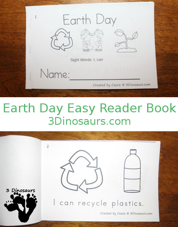 Earth Day Word  Easy Reader Books  3 Dinosaurs