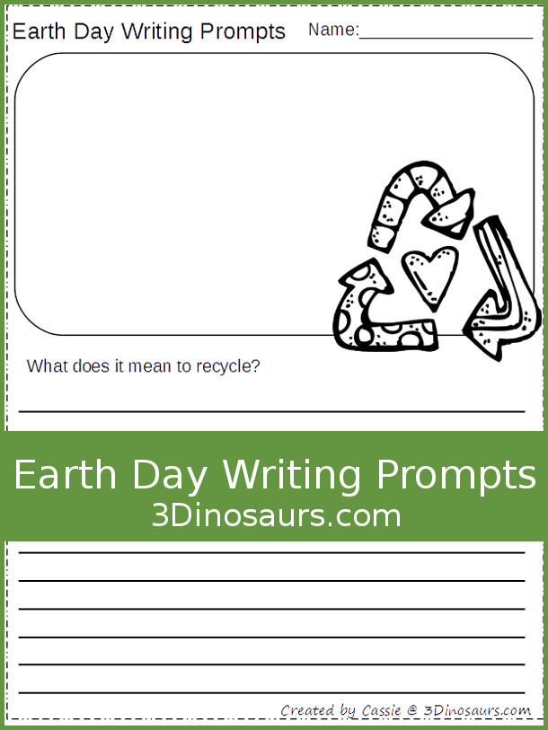 Free Earth Day Writing Prompts - two different types of lines and 8 different questions - 3Dinosaurs.com