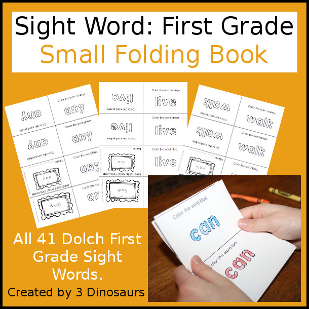 Sight Word Small Folding Books: First Grade - 3Dinosaurs.com