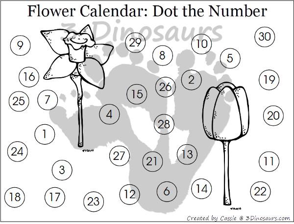 Free 2016 Flower Calendar - 3Dinosaurs.com